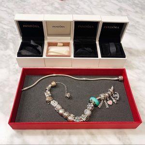 Pandora Two Tone Bracelet & Charms LOT